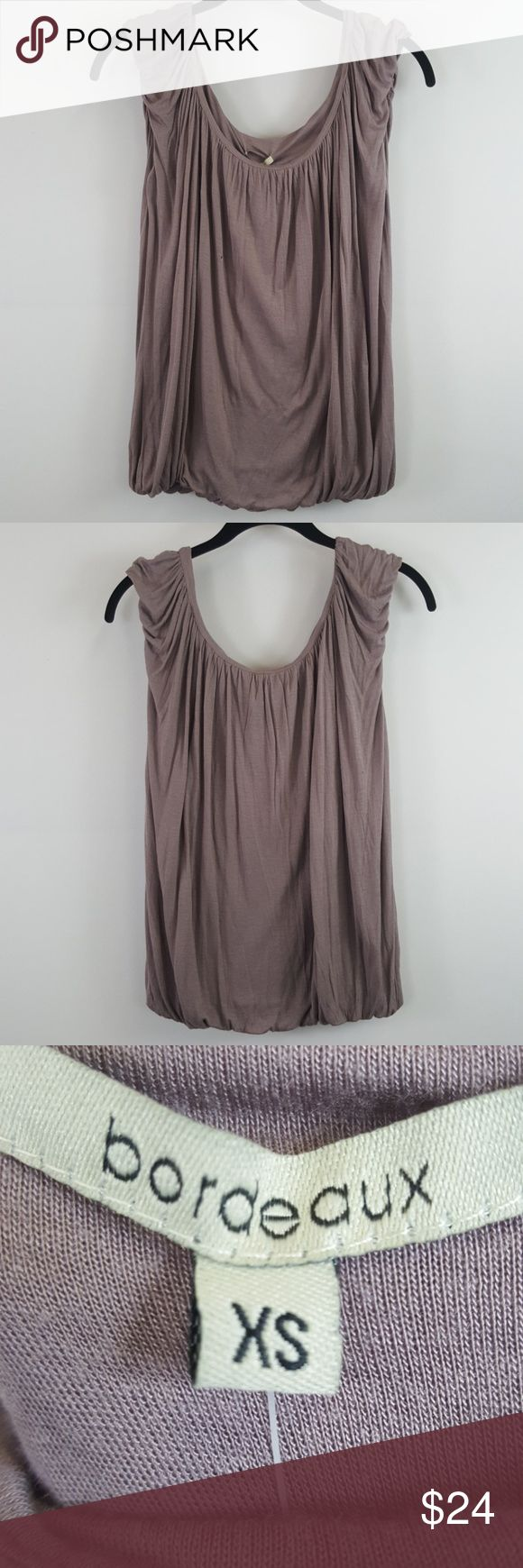 """Bordeaux ANTHRO Cotton Short Sleeve Top Bordeaux lilac pleated top from anthro. Very Small hole on front as seen on picture from where the price tag was! So comfy  Size-x-small  Bust-30"""" Waist-42"""" Length-46"""" Anthropologie Tops Tank Tops"""