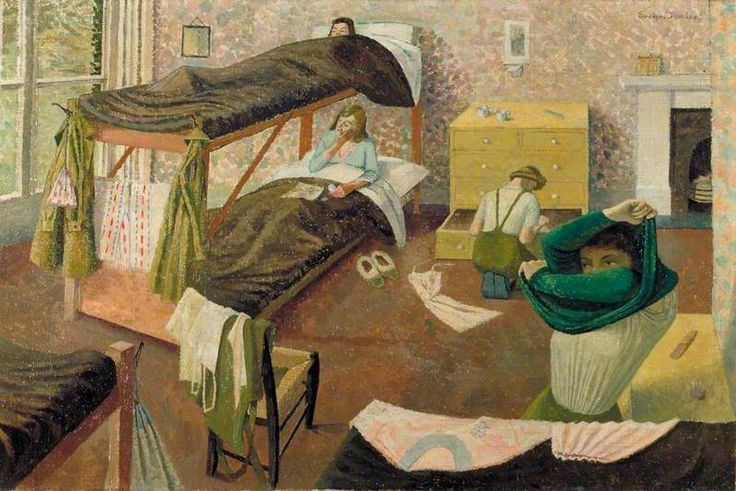 Land Army Girls Going to Bed, 1943 by Evelyn Mary Dunbar (British 1906-1960)