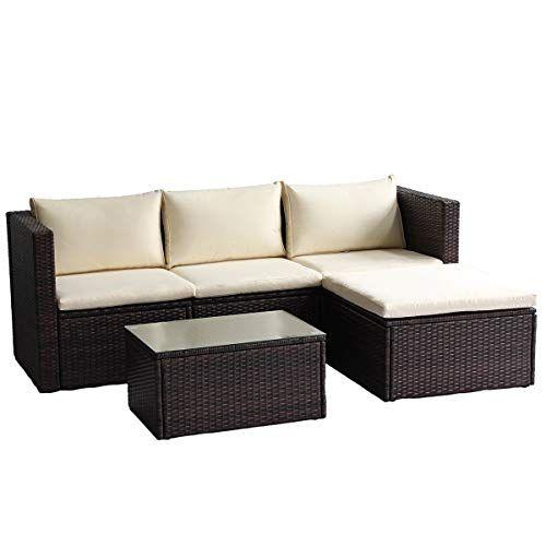 Junjiagao Rattan Patio Furniture Set Wicker Sofa Cushioned Sectional Furniture Set Garden Patio Rattan Furniture Set Patio Sofa Set Cushions On Sofa