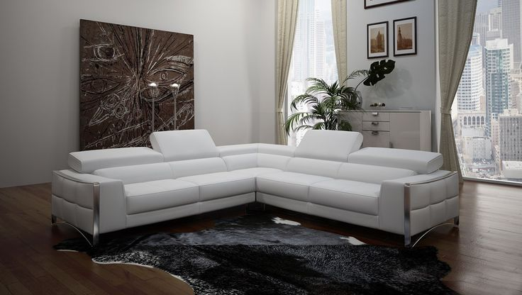tempo white top grain italian leather living room sectional sofa with adjustable headrests modern leather sofa pinterest living room sectional