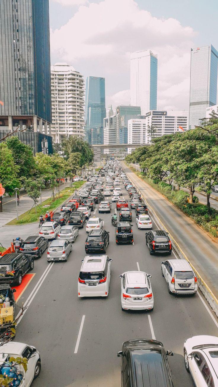 Jakarta's view from the halt of busway Fotografi jalanan