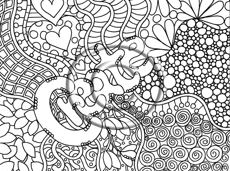 digital download coloring page hand drawn zentangle inspired abstract zendoodle doodle hippie 220 via - Coloring Pages Abstract Designs