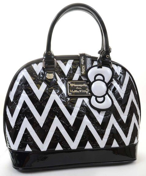 Black and White Chevron Print Hello Kitty Embossed Handbag Purse Loungefly