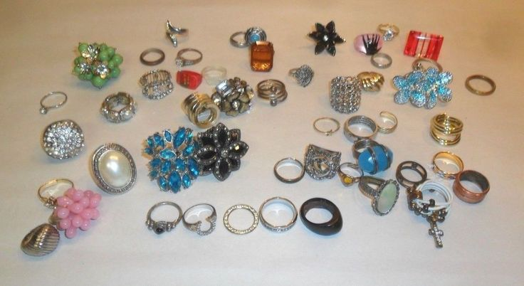 Vintage Lot of 50 Vintage Costume JEWELRY Ring vintage Rhinestone Mixed LOT De #various #rings