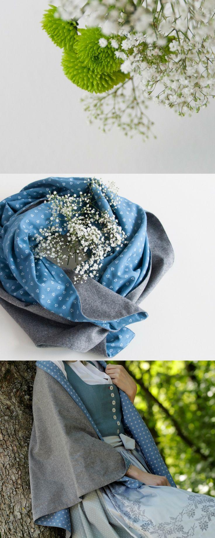 Schal aus Loden aus Merinowolle und Dirndl-Stoff mit personalisiertem Monogramm