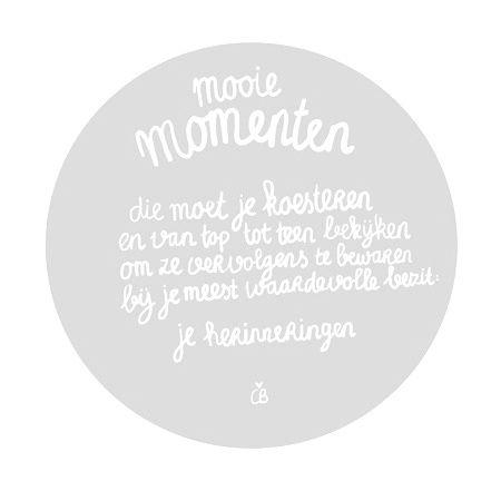 Quotes - 'Mooie momenten die je moet koesteren en van top tot teen bekijken om ze vervolgens te bewaren bij je meest waardevolle bezit: je herinneringen.'