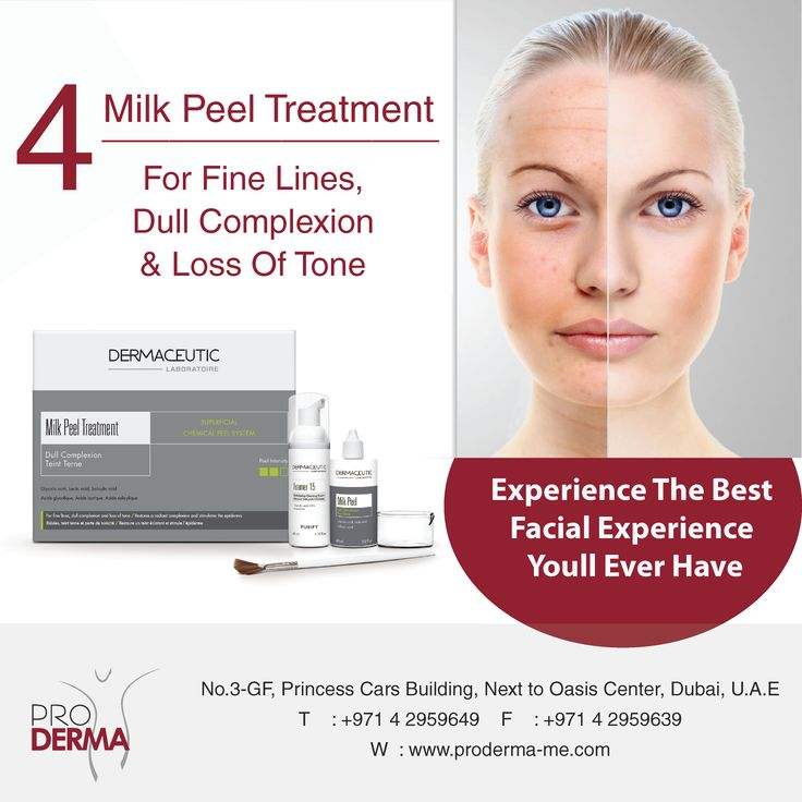 #Proderma_me #MilkpeelTreatment #FineLines #DullComplexion #LossofTones #Beauty #BeautyTreatment #BeautyEnhanced #ChemicalPeel #Dermaceutic #Dubai #UAE Why should you choose Milk Peel Treatment? Suitable for all skin types and phototypes Safe and easy 10min protocol No social downtime Little to no desquamation Optimal combination of 3 skin peel ingredients Aesthetic treatment enhancer (mesotherapy, botox, fillers) Image may contain: 1 person, text