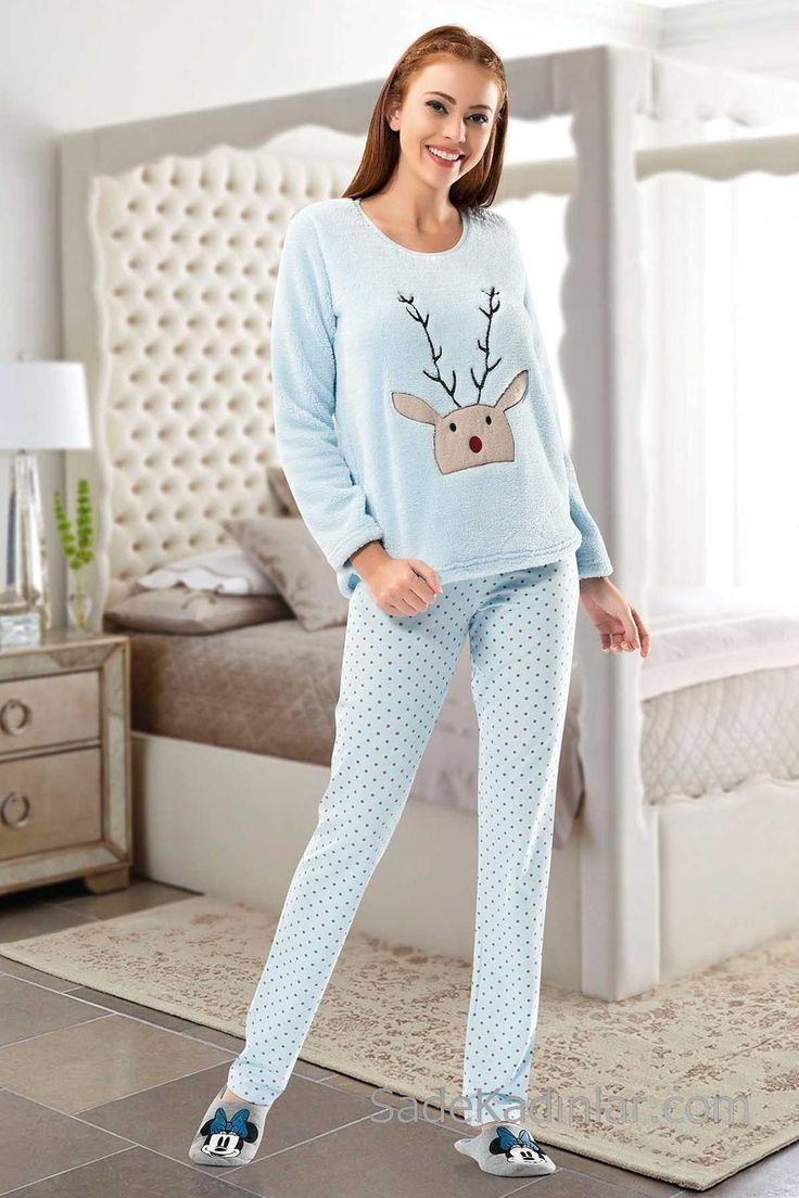 2018 Pijama Takımları Bebek Mavisi Puantiyeli Geyik Baskılı