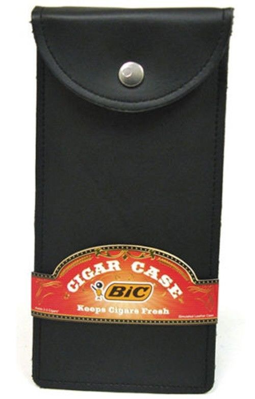 Bic Brand PU Leather 3 Finger 50 Ring Size Cigar Travel Case
