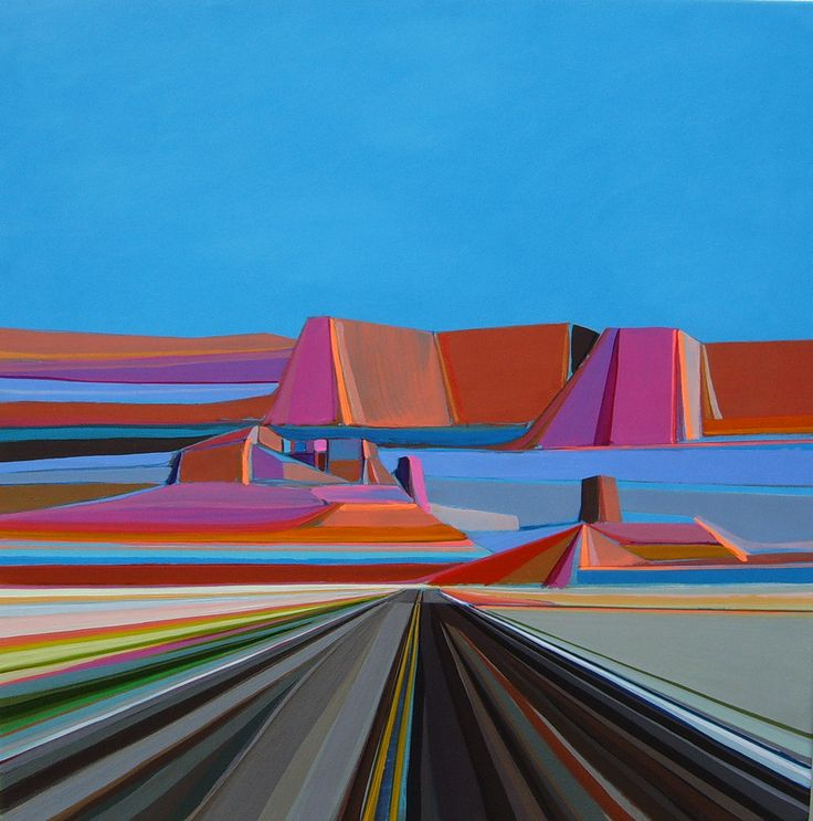 """""""Butte""""   Acrylic, pencil, paint-pen on wood panel I <3 Monument Valley"""