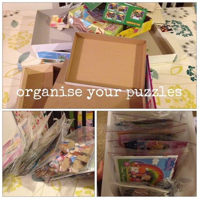 Cut out puzzle image, add to ziplock bag and get rid of those bulky boxes!