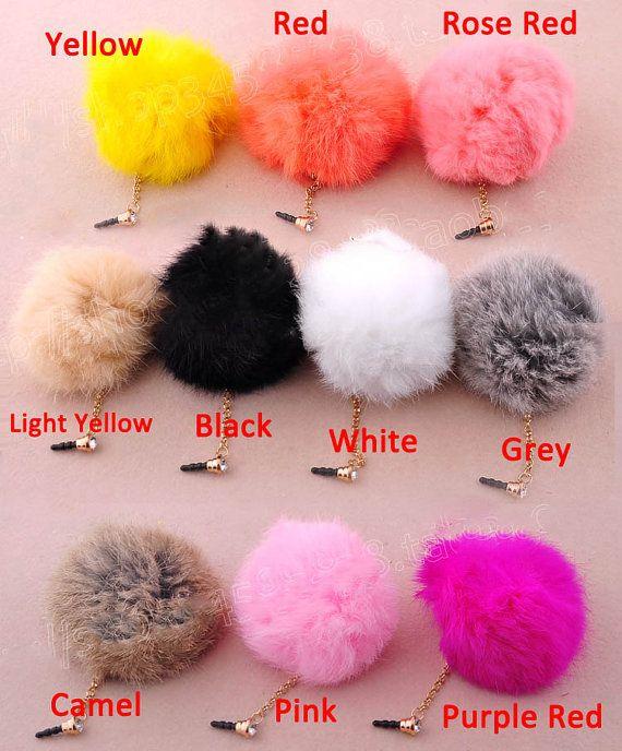 30%OFF 10 Colors Cute Rabbit Hair Fur Ball Dust Plug 3.5mm Phone Dust Stopper Earphone Cap Headphone Jack Charm iPhone 4 4S HTC Samsung on Etsy, $4.88
