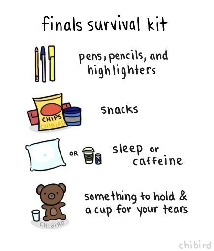 Finals And a cup for your tears - I think I'm going to need to have to make this survival kit for this semester.