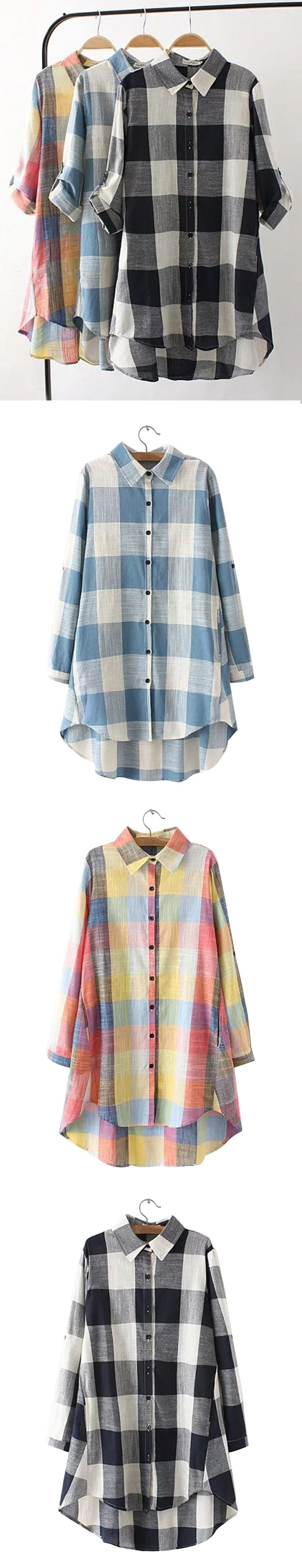 US$27.15 Loose Plaid Adjustable Sleeve Turn-Down Collar Blouse For Women