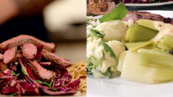 Aziatische biefstuksalade met noedels & biefstuk met pepersaus en rucolastamppot - recept | 24Kitchen