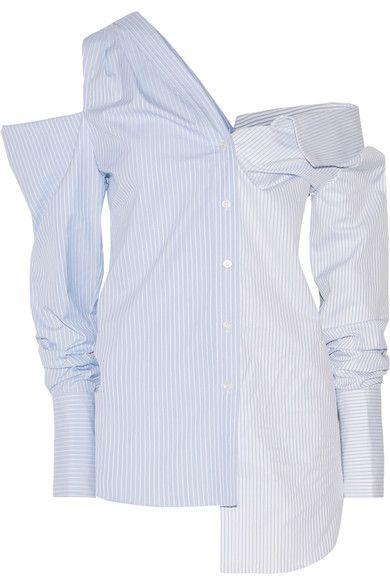 Monse - Off-the-shoulder Asymmetric Striped Cotton-dobby Shirt - Sky blue - US12
