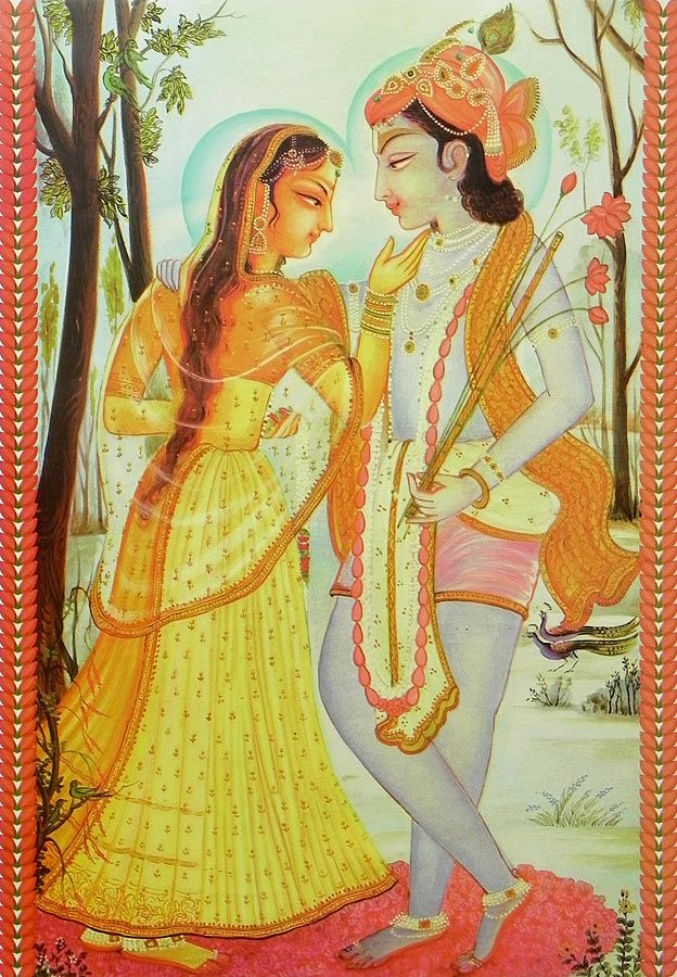 A Loving Moment Between Radha and Krishna (Reprint on Paper - Unframed)