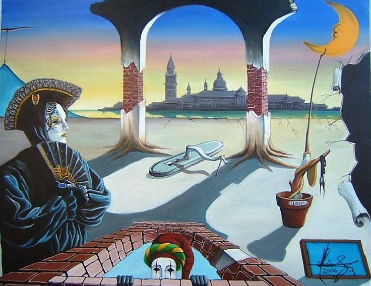 """Hidden Faces"" -Oil on canvas. Mihai Adrian Raceanu - Painter from Romania    #art #painter #painting #surrealism"