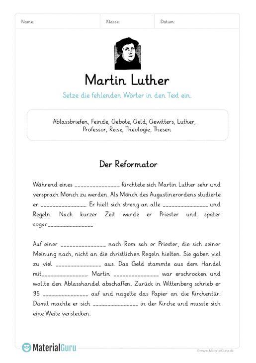 ein kostenloses arbeitsblatt zu martin luther auf dem die sch ler einen l ckentext zu martin. Black Bedroom Furniture Sets. Home Design Ideas