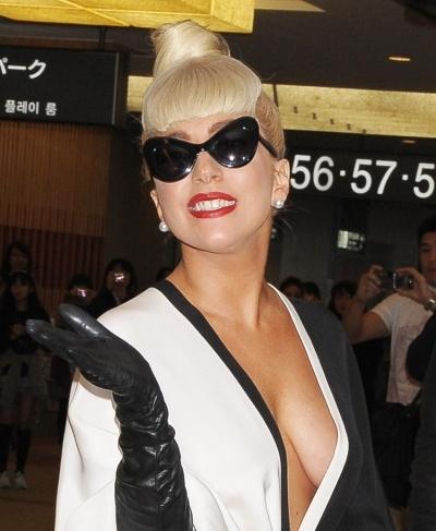 Lady Gagas high bun hairstyle