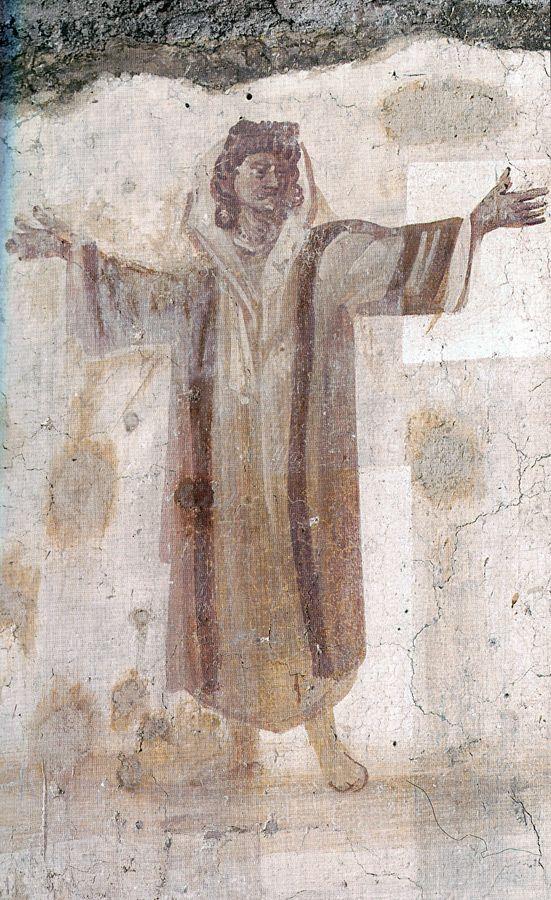 Casa romana del Celio. Basilica dei Santi Giovanni e Paolo, Roma. Gli affreschi del IV secolo. Orante