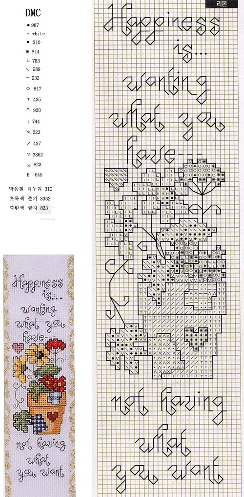 Cross-stitch Happiness is.. Bookmark