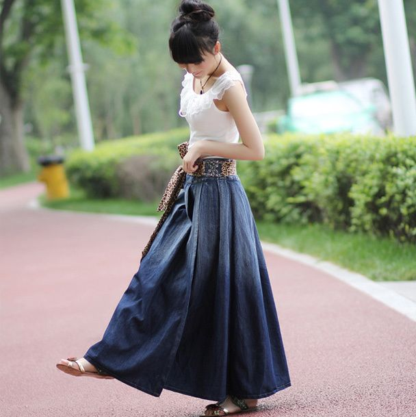 17 Best images about Long denim skirts on Pinterest