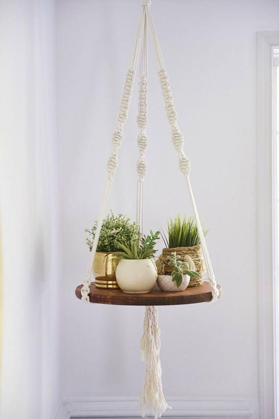 MACRAME hanging shelf, macrame shelf, round hanging shelf, boho shelf