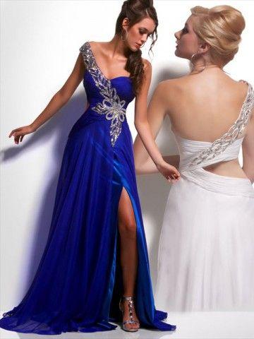 2012 Style A-line One Shoulder Pattern  Sleeveless Floor-length Chiffon Royal Blue Prom Dress / Evening Dress