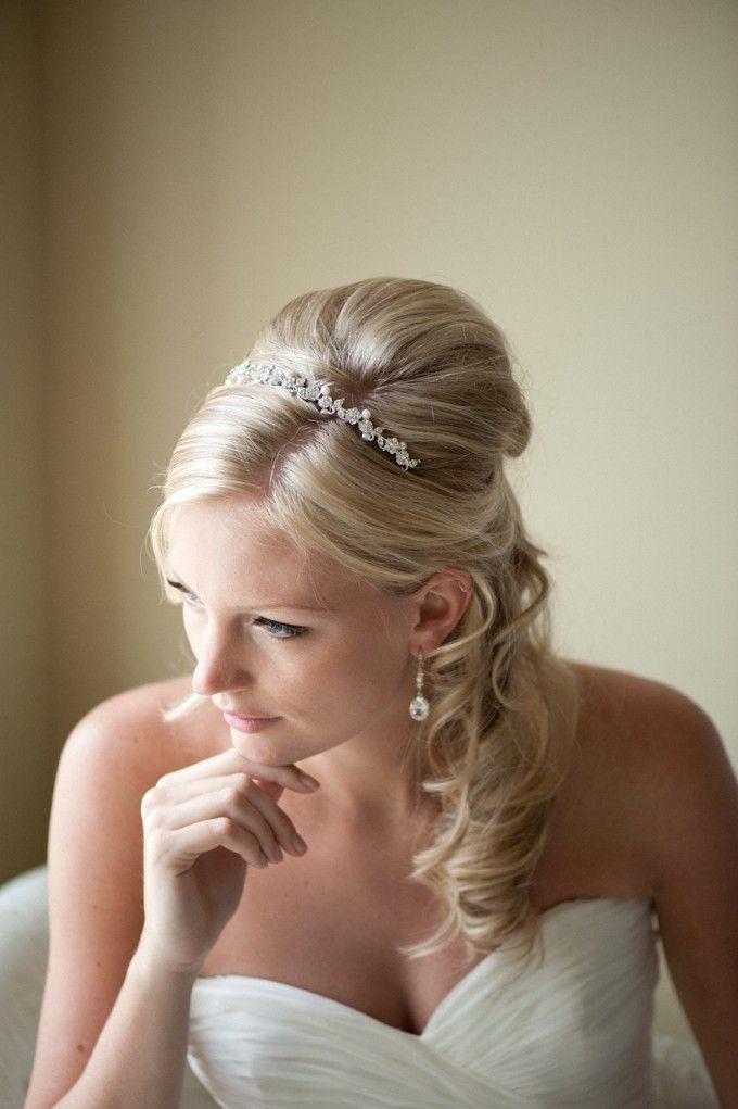 Bruids hoofdband bruiloft Tiara Zoetwaterparel door PowderBlueBijoux