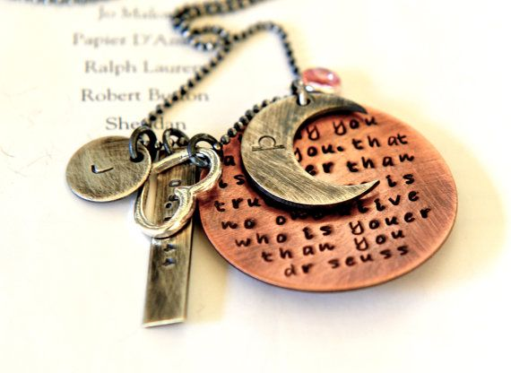 Personalized Birthday Necklace Quote Gift Hand by SevenBlueberries