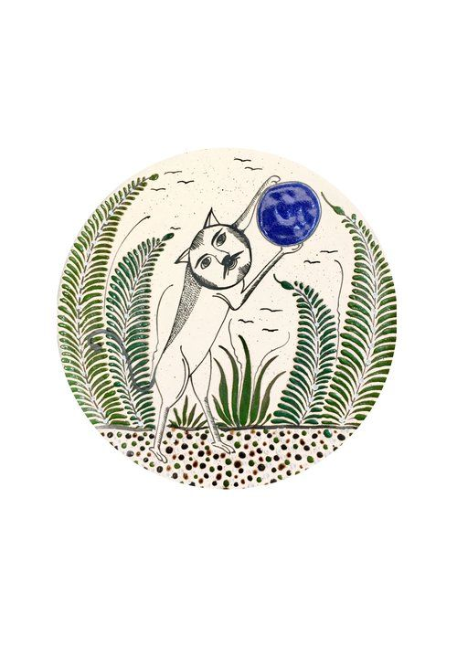 Mexican print for kids rooms -Cat Catching Moon from Tonalá