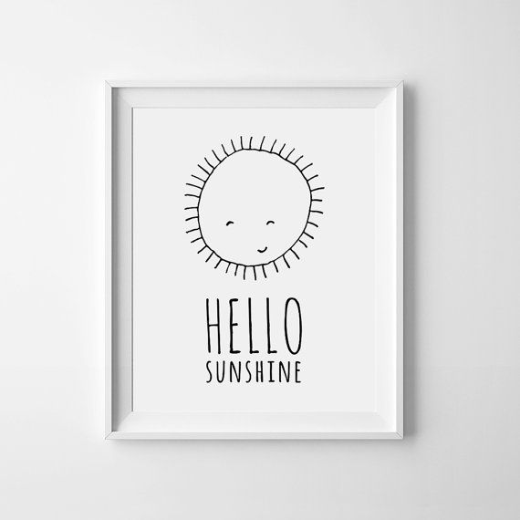 Nursery art, Printable quote, Hello Sunshine, Mini Learners, Black and White…
