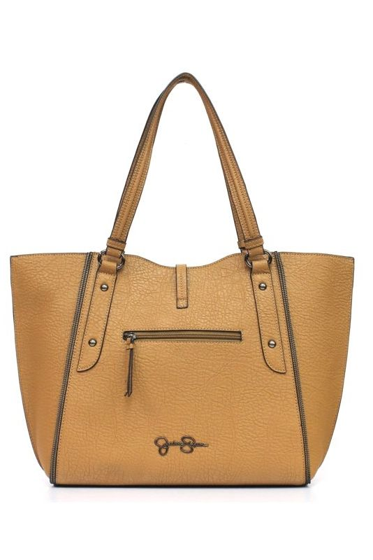 The perfect size for everyday use, this faux leather tote by Jessica Simpson keeps all your essentials right at your fingertips! Simply chic and practical, there's just no way you can go wrong! A great bag like this is a must-have in your closet, and it's available in three colors - Acorn, Black and Sand/Black!