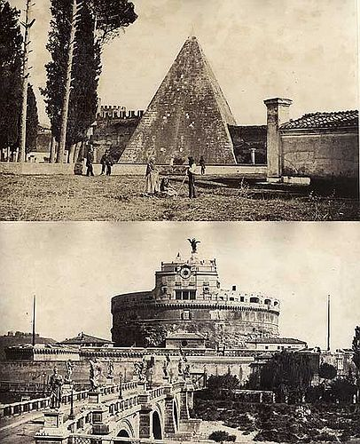 Hadrians Tomb and Pyramid, Rome, Italy 1860s (late)