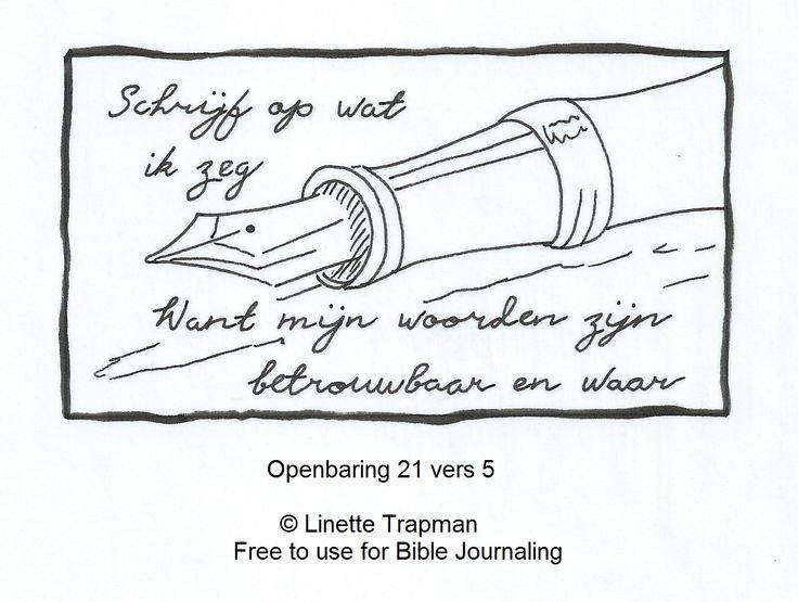 Openbaring 21 vers 5. © Linette Trapman. Vrij te gebruiken voor Bible Journaling