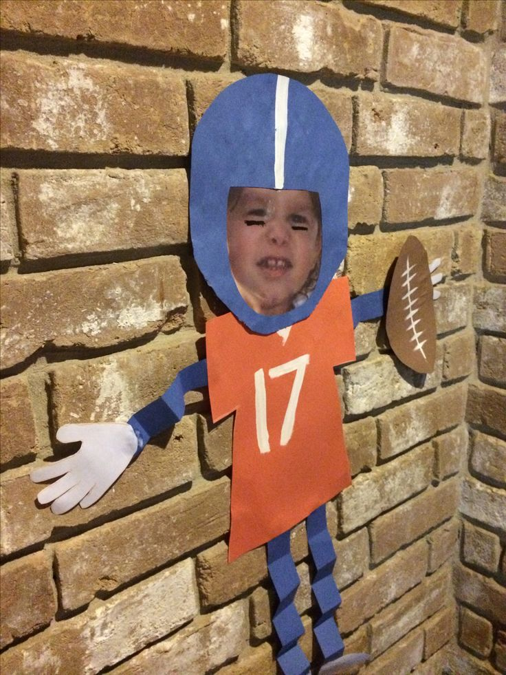 My future MVP!  Love how this turned out!!!  Football kids craft, Super Bowl, Denver Broncos, preschool
