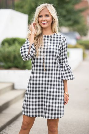 Summer style! Love this Preppy Paradise Gingham Dress Black for Summer parties