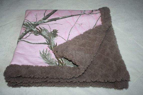 "Pink Camo Baby blanket (30x30"")- light pink realtree winter camouflage with mocha brown cuddle minky. baby infant girl blanket"