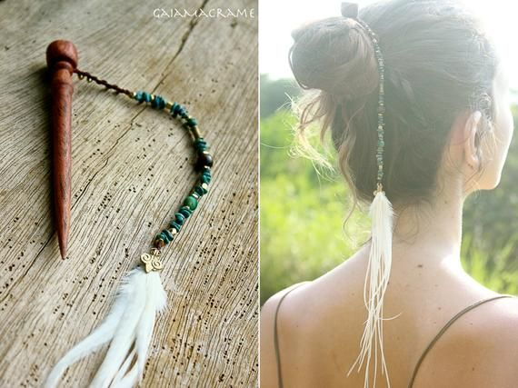 Items similar to Unique wooden hair stick decorated with healing stones,brass beads and long elegant feathers. Gypsy tribal hairstyle, bohemian hair jewelry~ on Etsy