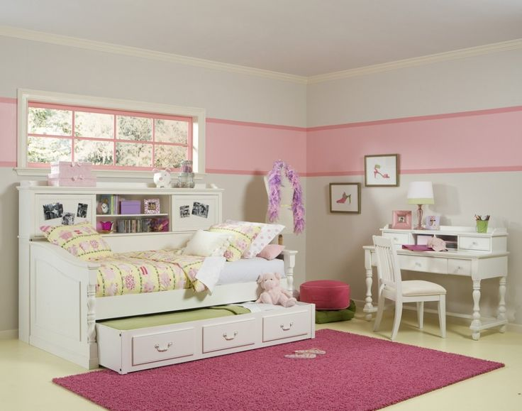 White Wood Girl Shared Bed Along With Rectangular Pink Bedroom Rug And Light Pink Bedroom Wall