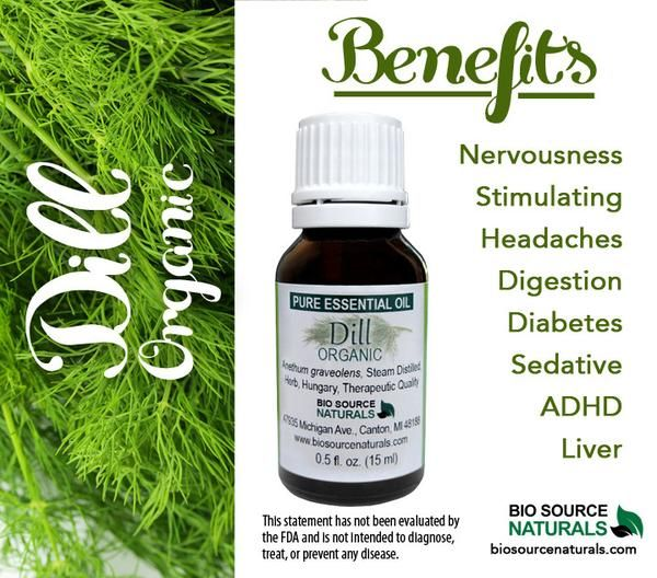 Dill Essential Oil Organic Oil has wonderful benefits.  Dill essential oil is known to help soothe digestive problems (such as constipation and diarrhea), diabetes, liver issues, headaches, ADHD, and nervousness.  #aromatherapy