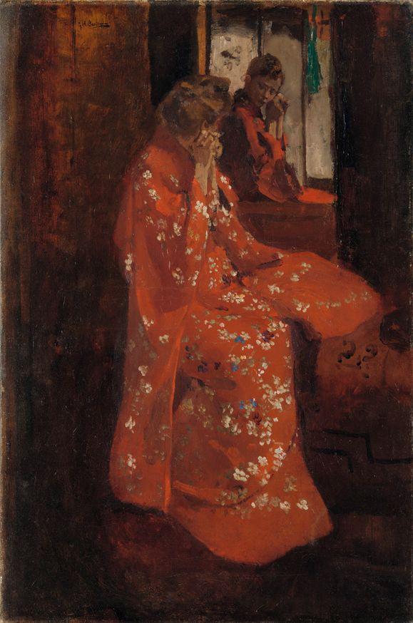George Hendrik Breitner, Meisje in rode kimono voor de spiegel, 1895/1896. Olieverf op doek, 75,5 x 55 cm. Particuliere collectie. Foto Rijksmuseum