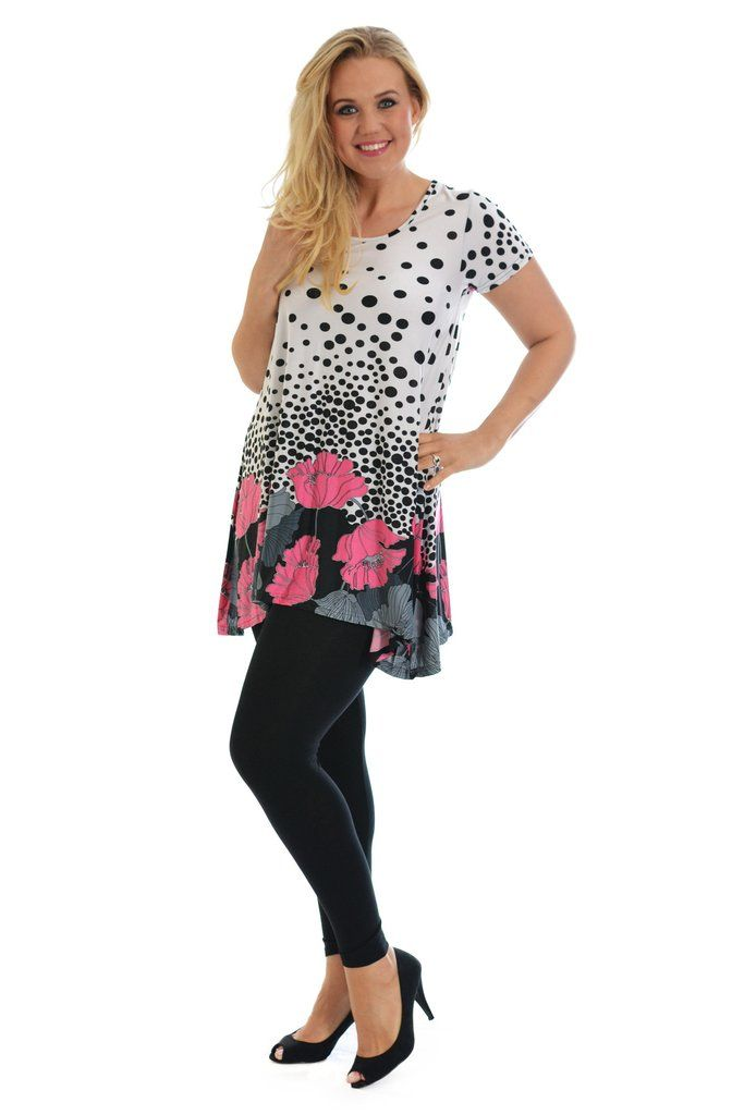 Lovely Floral Polka Dot Plus Size Tunic Top - Pink
