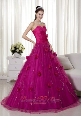 Cheap Fuchsia A-line Sweetheart Brush Train Tulle and Taffeta Hand Made Flowers Prom Dress
