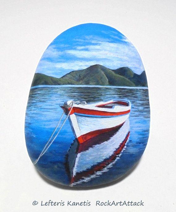 Pintura paisaje con barco en el lago de la roca! Pintado con pinturas acrílicas y acabado con protección de barniz brillante.