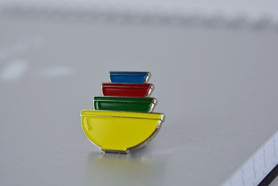 Enamel Pyrex Pin Primary Colors Mixing Bowl by ZintageArchive