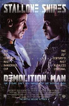 Demolition man, wesley snipes, dandra bullock, and stalone.  It's not the best film ever, but it's funny and cleverly put together.