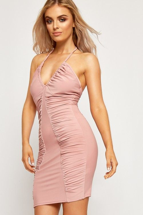 Jasmin Strappy Halterneck Ruched Party Dress | WearAll #prom #summer #2017 #fashion