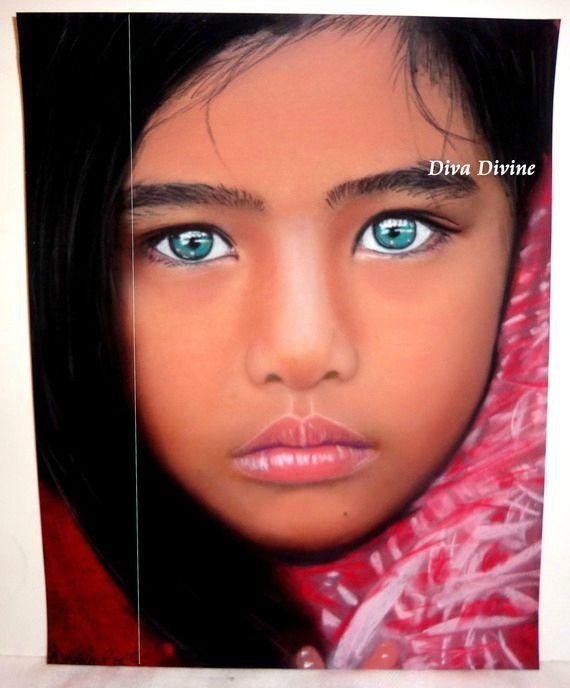 Peinture pastel sec pour tableau boh me ethnique indien portrait yanna peint a la main - Peinture au pastel sec ...